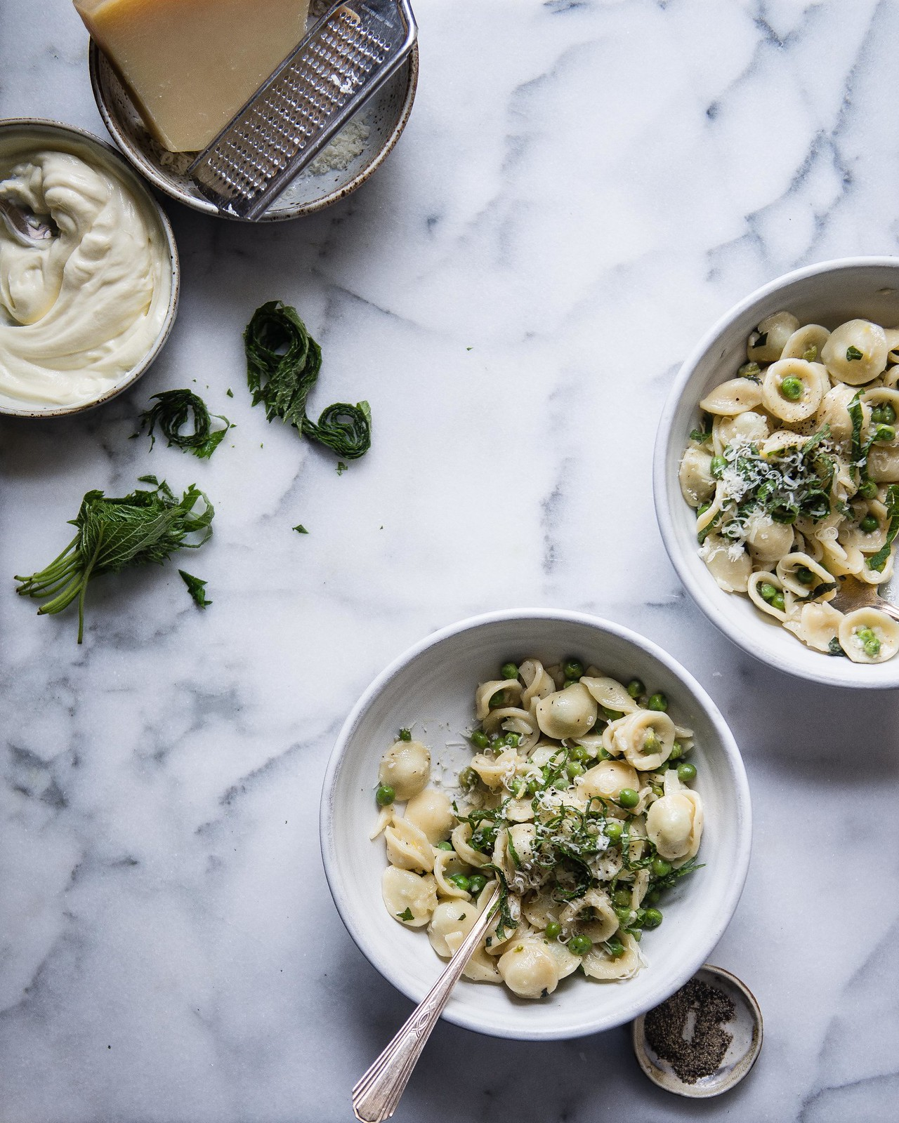 spring pea pasta with lemon & shiso | two red bowls