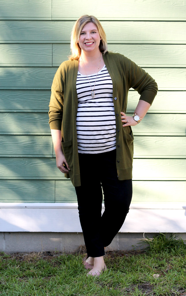 long olive cardigan, stripe tee, black pencil pants 7