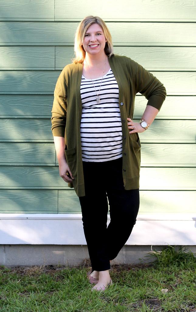 long olive cardigan, stripe tee, black pencil pants 7