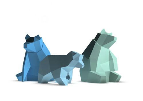 Low Poly Papercraft Bear Models by Paperwolf