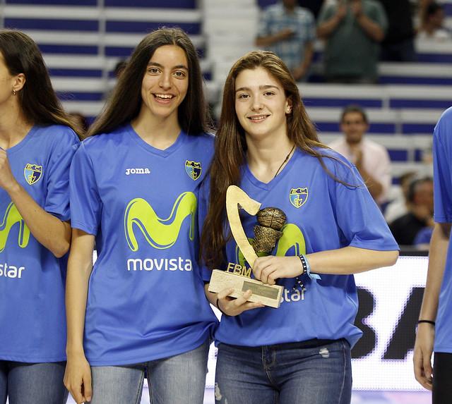 Homenaje ascenso LF y campeonas Madrid cadete en Movistar Estudiantes - Valencia Basket . Jornada 33 liga Endesa