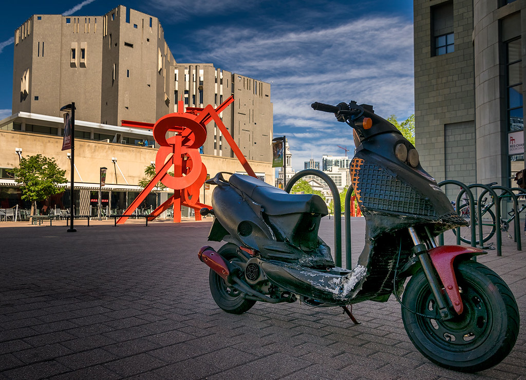Scooter on the Denver Arts Museum Plaza - Color