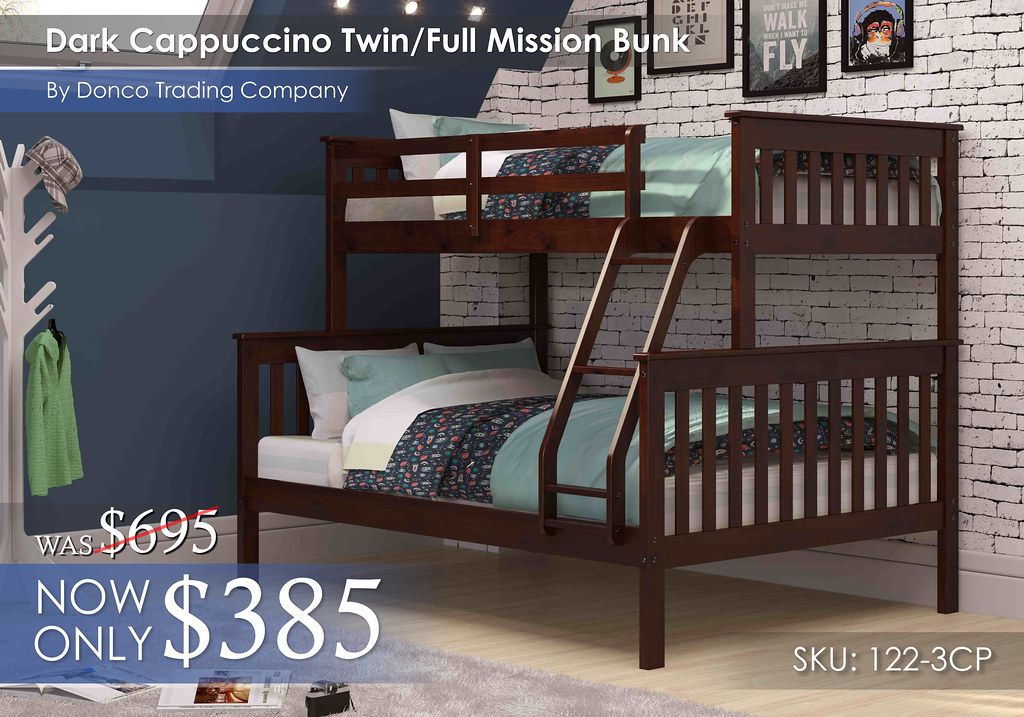 Donco Dark Cappuccino Twin Full Mission Bunk Bed 122-3CP