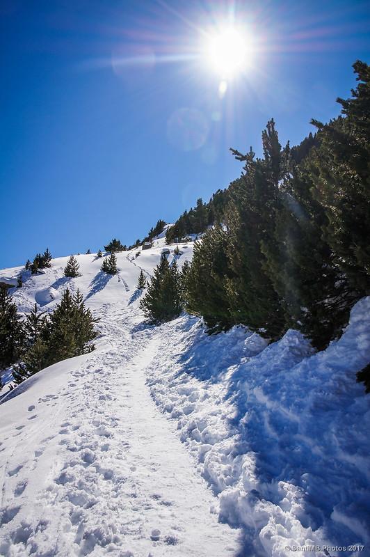 En el GR-11 a la altura de Nüria en invierno