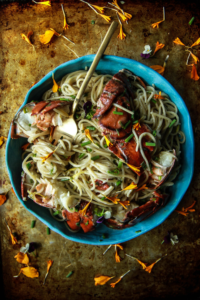Lemony Lobster Pasta -gluten and dairy free from HeatherChristo.com