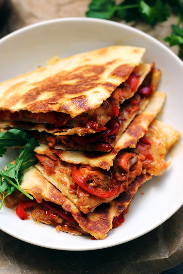 Thai Sweet Chili Salmon and Roasted Red Pepper Quesadillas