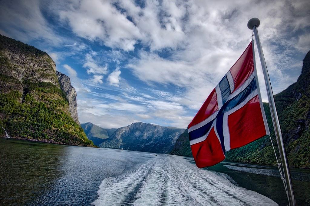 Norwegian Flag in Sognefjord