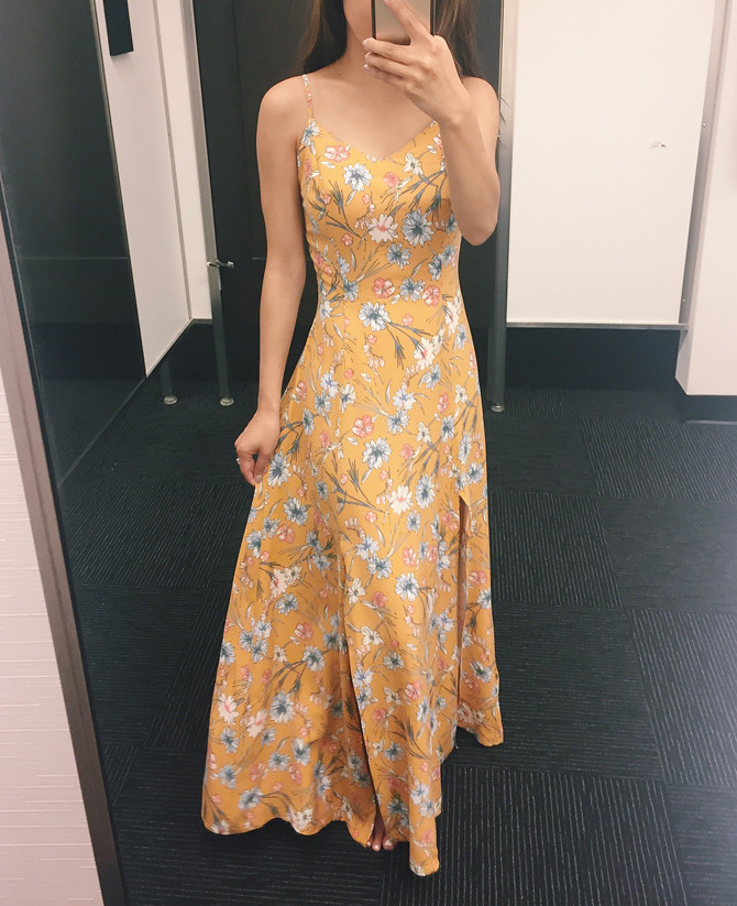 yellow floral slit skirt maxi dress for petites nordstrom