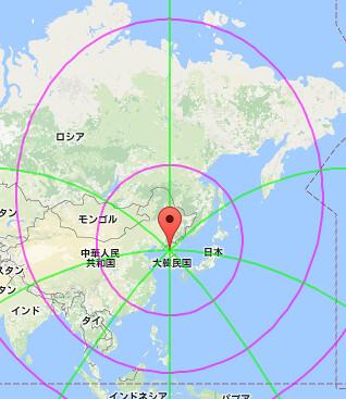 Googleマップで等距圏・方位線を表示する