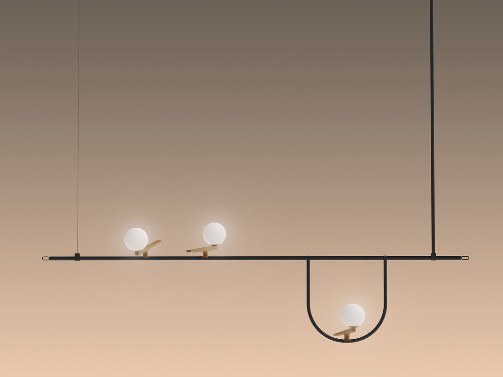 Lamp collection for Artemide that recalls the shapes of birds poised on wires and branches Sundeno_04