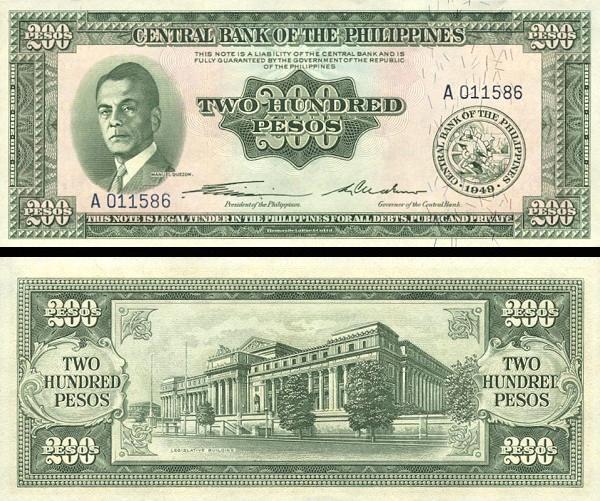 200 Pesos Filipíny 1949, P140