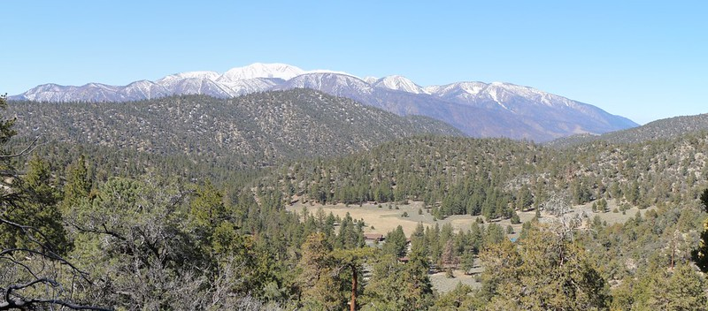 The San Gorgonio Mountain Range from east to west above a hidden mountain meadow
