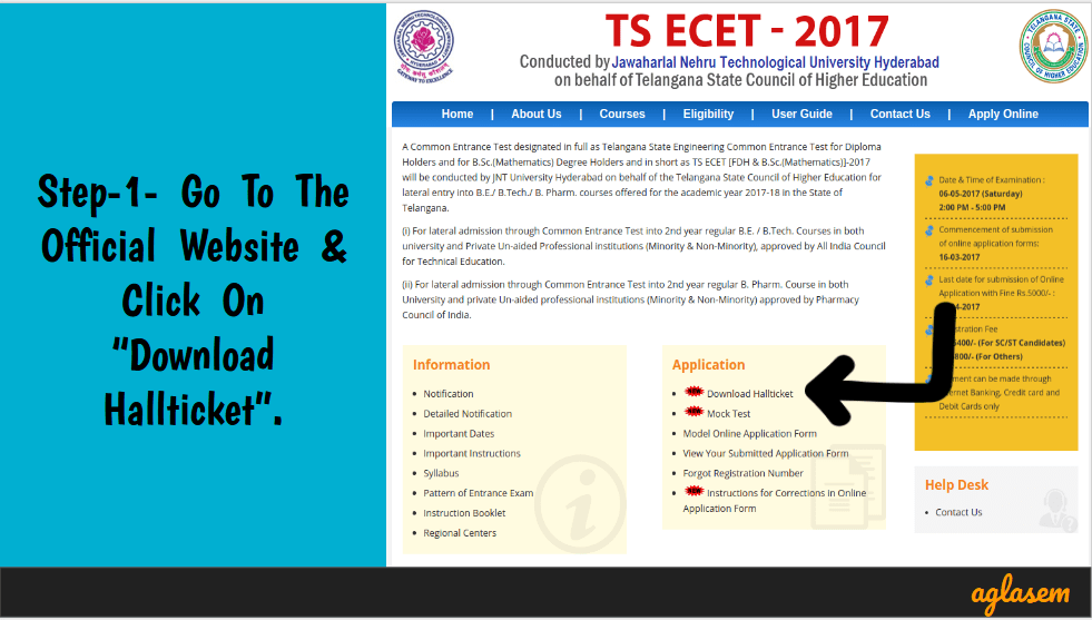 TS ECET 2017 Admit Card / Hall Ticket Issued - Download Here