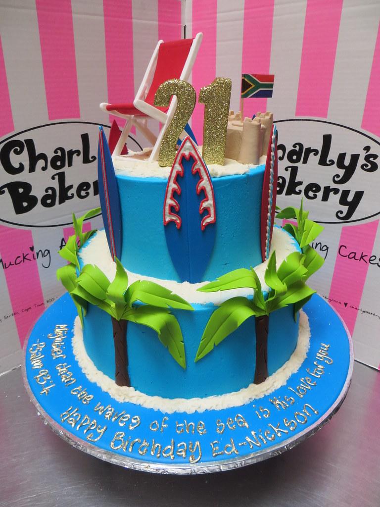 2 Tier Beach Themed 21st Birthday Cake With 3d Beach Chair Flickr