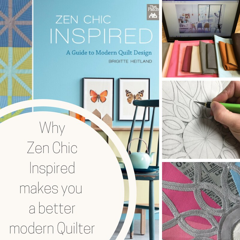 Zen Chic Inspired, a Guide for the Modern Quilter, with 12 surprising and fresh projects helps you create the perfect color palette and find design elements to create your own modern quilt