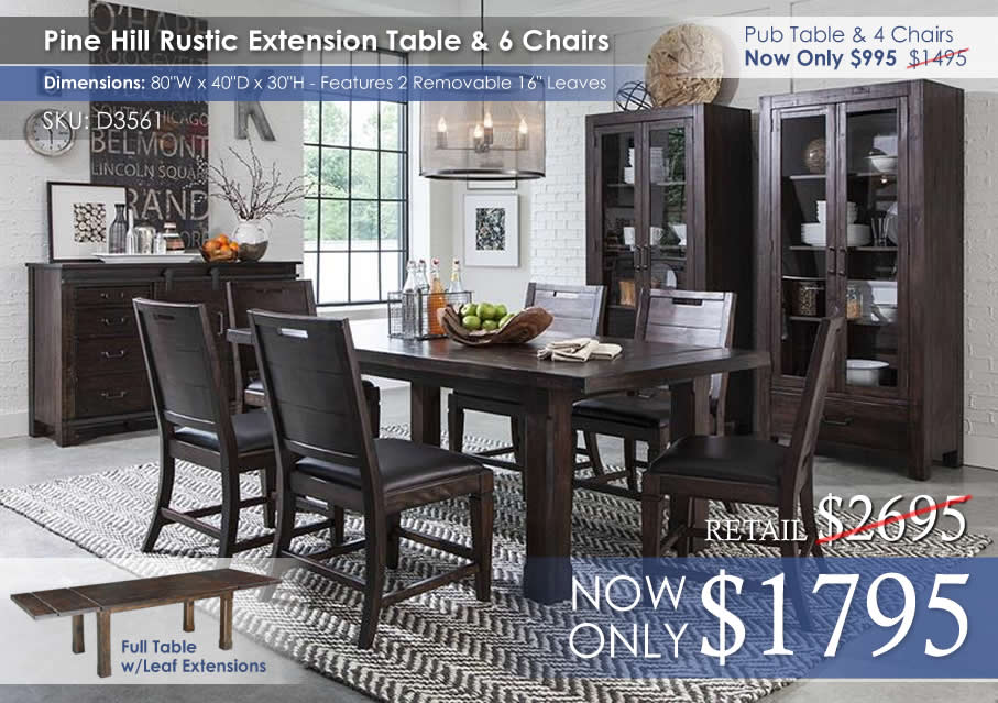 Pine Hill Rectangular Dining Set D3561