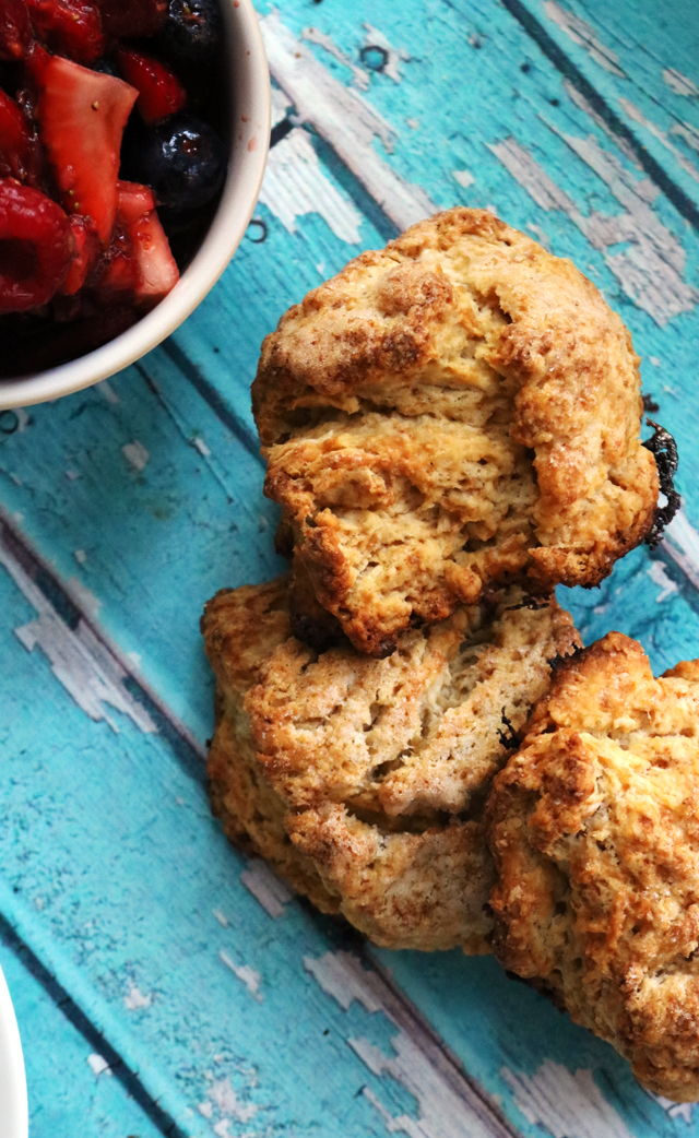 Red, White, and Blue Brown Sugar Berry Shortcakes