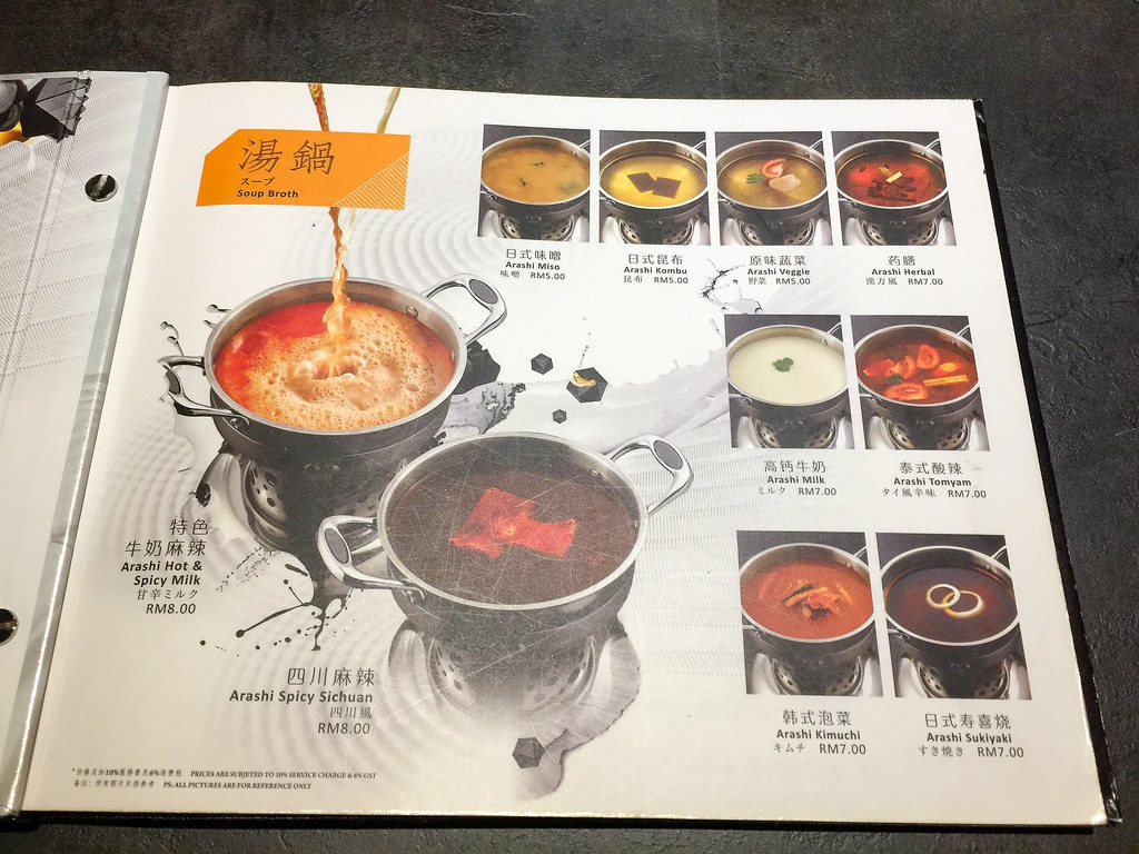 Seven kinds of soup broth for the Shabu-Shabu with different price.