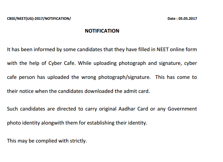 NEET 5 May 2017 Notification