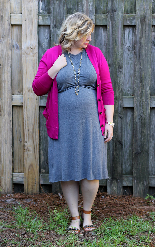 magenta cardigan, gray midi dress and sandals_3