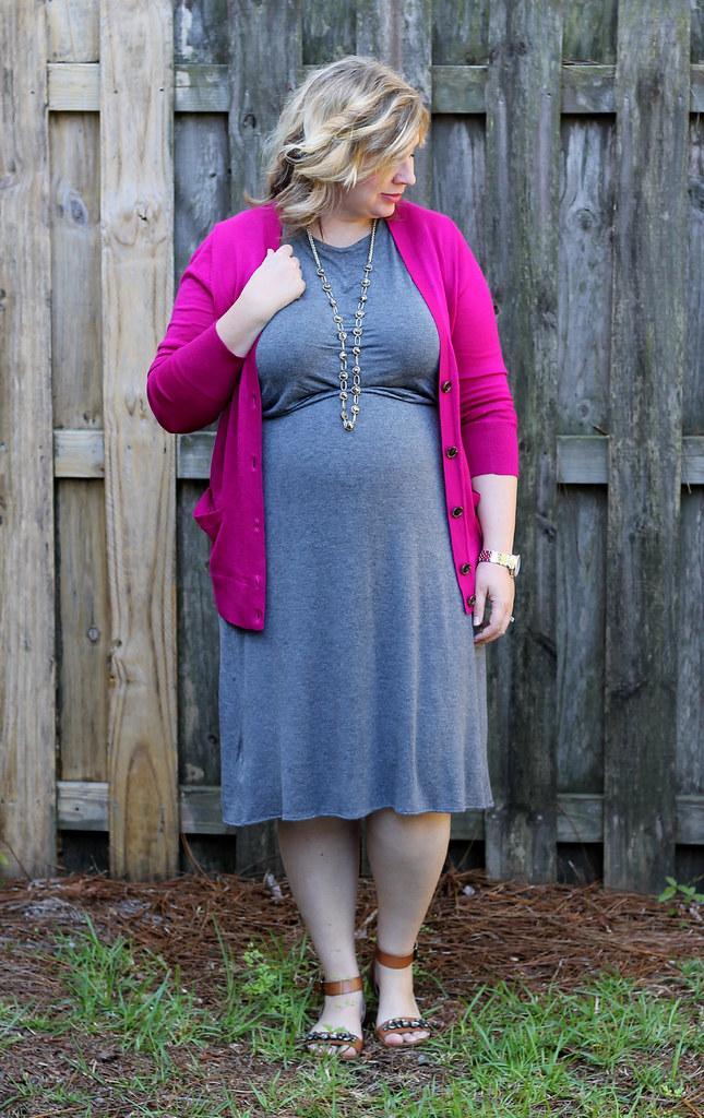 magenta cardigan, gray midi dress and sandals_3