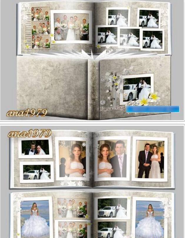 Wedding photobook PSD for Photoshop – happy family