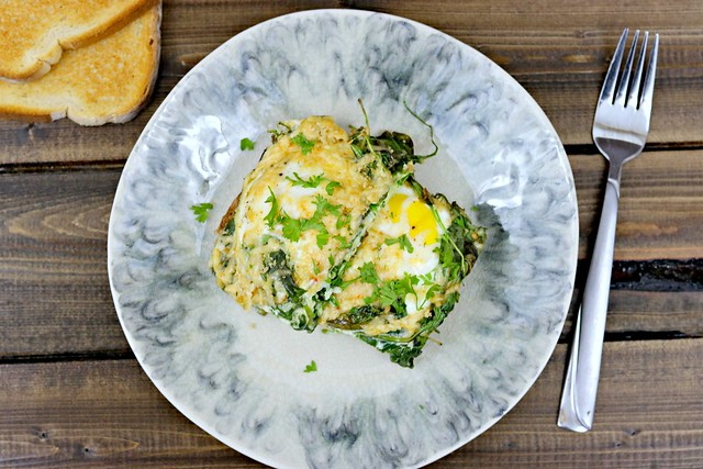 Spinach Baked Eggs Top Close