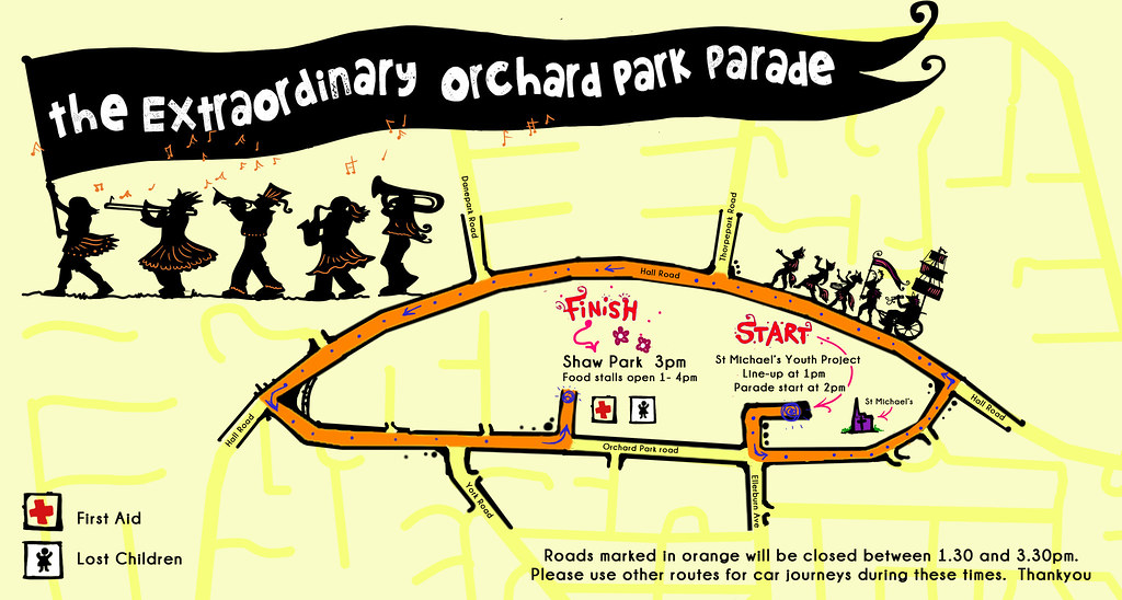 The Extraordinary Orchard Park Parade route map © Handmade Parade