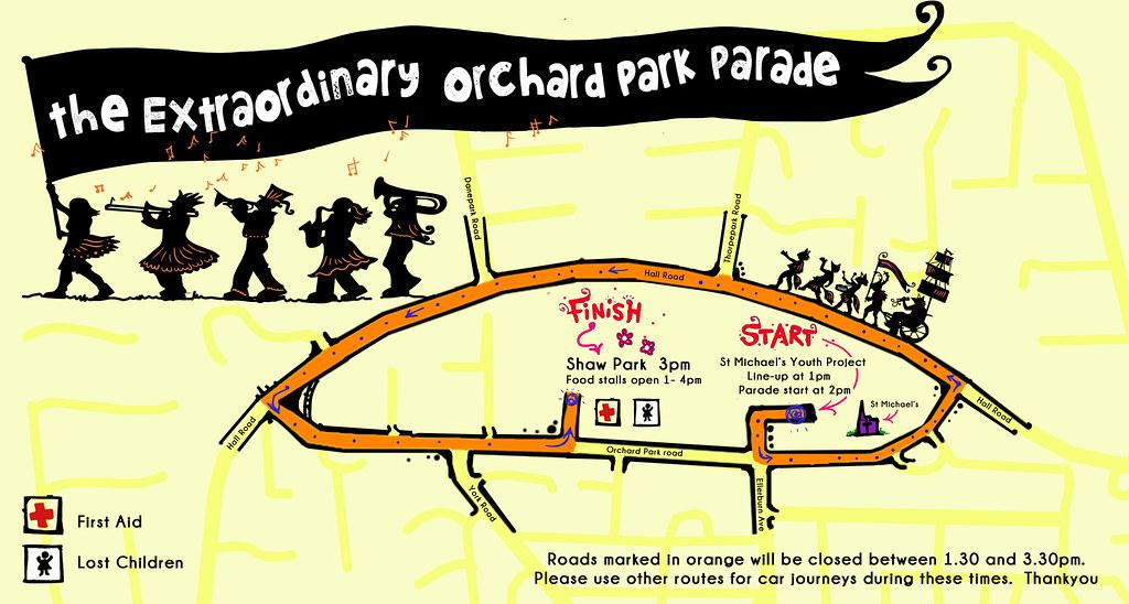 The Extraordinary Orchard Park Parade route map © Handmade Parade
