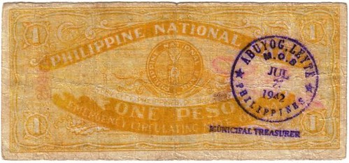 1941 One Peso Philippine National Bank Emergency Circulating Note back with an Abuyog, Leyte counterstamp