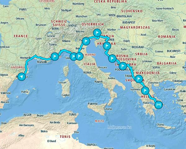Mapa del recorrido de 3 semanas por Europa que hicimos hasta Atenas en coche