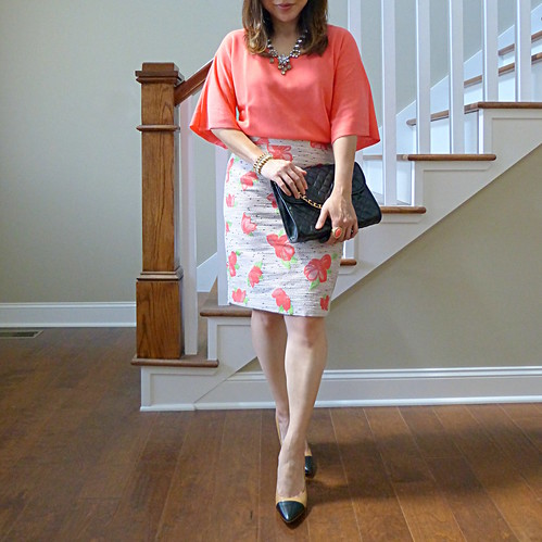 summer cerise skirt + dramatic sleeve  sweater