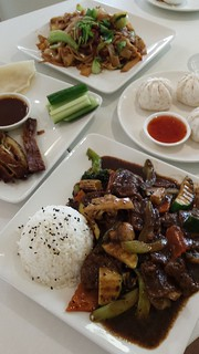Char Kway Teow, BBQ Buns, Beef & Black Bean, Peking Luck from Loving Hut