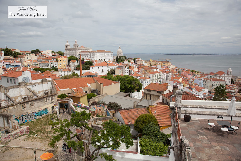 View of southeast Lison with the expansive Igreja de Santo Estêvão in the background and the area of São Jorge Castle