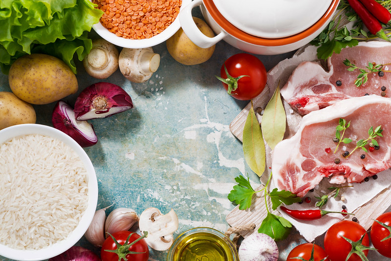 meat and fresh foods for cooking soup, top view