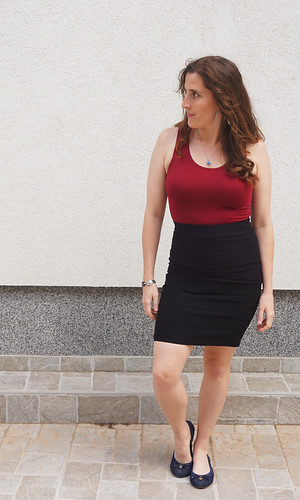 Pencil skirt and red top