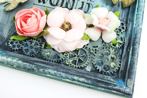 Meihsia Liu Simply Paper Crafts Mixed Media Frame Simon Says Stamp Monday Challenge Tim Holtz Prima Flowers 5