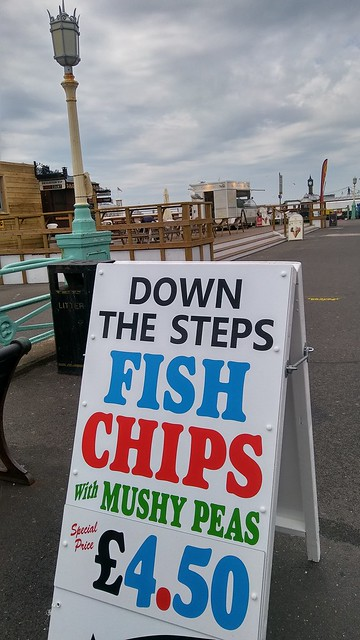 Fish Chips with Mushy Peas hoarding Brighton