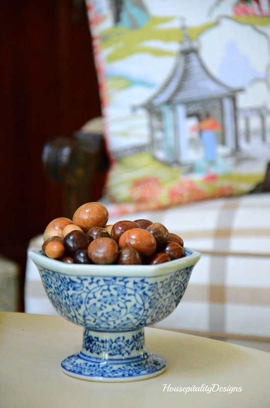 Blue and White footed bowl-Wooden spheres-Housepitality Designs