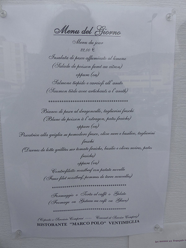 menu du jour