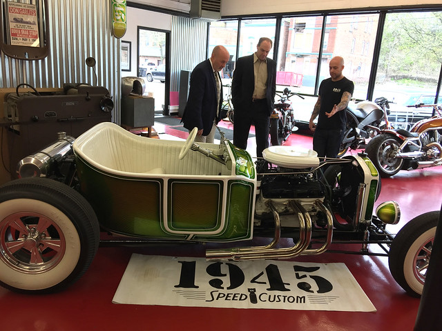 Mayor Patrick Madden visit to 1945 Speed and Custom