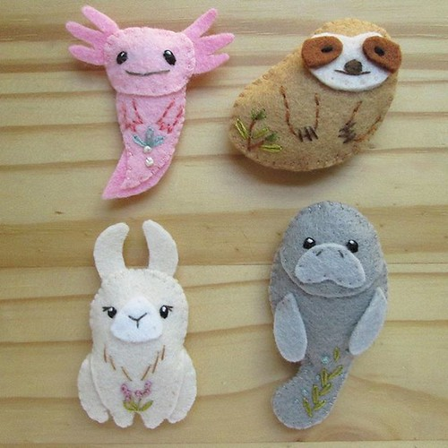 My newest mini felt plush pattern PDF is available now in my shop!! These are some of my favorite unusual animals, axolotl, sloth, llama and manatee. What is yours? The instant download pattern is at www.littledear.etsy.com 💕 #littledear #feltt