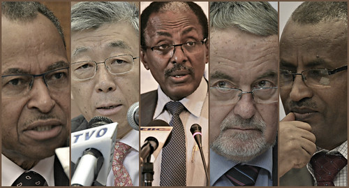 Jimmy Smith (ILRI), Ren Wang (FAO), Fekadu Beyene (Ethiopian Ministry of Livestock), Fritz Schneider (GASL chair), Gebrejohannes Gebregziabher (Ethiopia State Minister for Livestock)