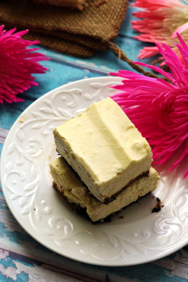 Creamy Mango Coconut Mousse Bars with a Coconut Shortbread Crust