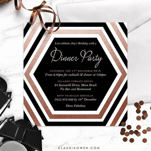 Dinner party invitation that features a hexagon shape as the focal point of the design. The invitation is modern with beautiful copper highlights #dinnerparty #partyinvitations #invitationdesigner | by Claudia Owen