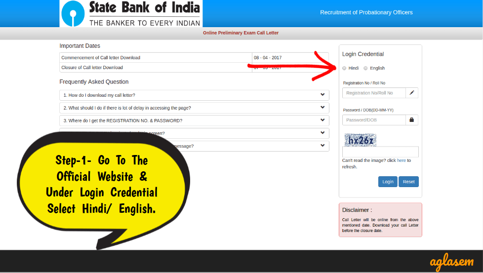 State Bank of India Probationary Officer Exam Login