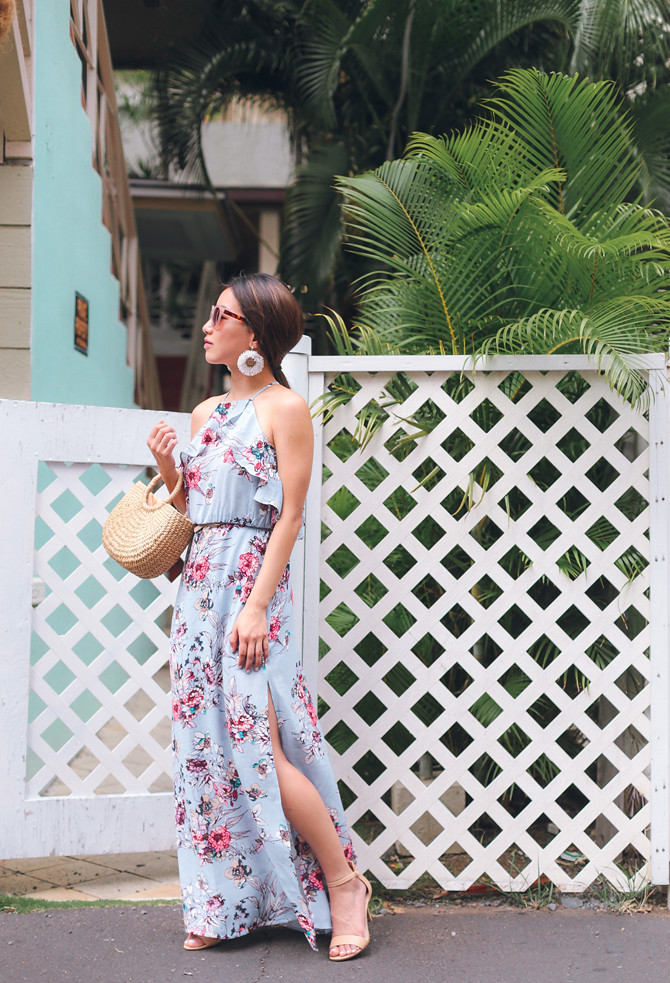 blue floral maxi dress what to wear to a spring wedding