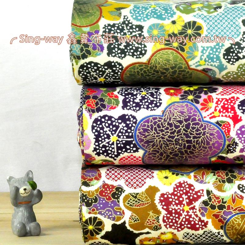 燙金日式花 日式和風手工藝DIy拼布布料 CA450653