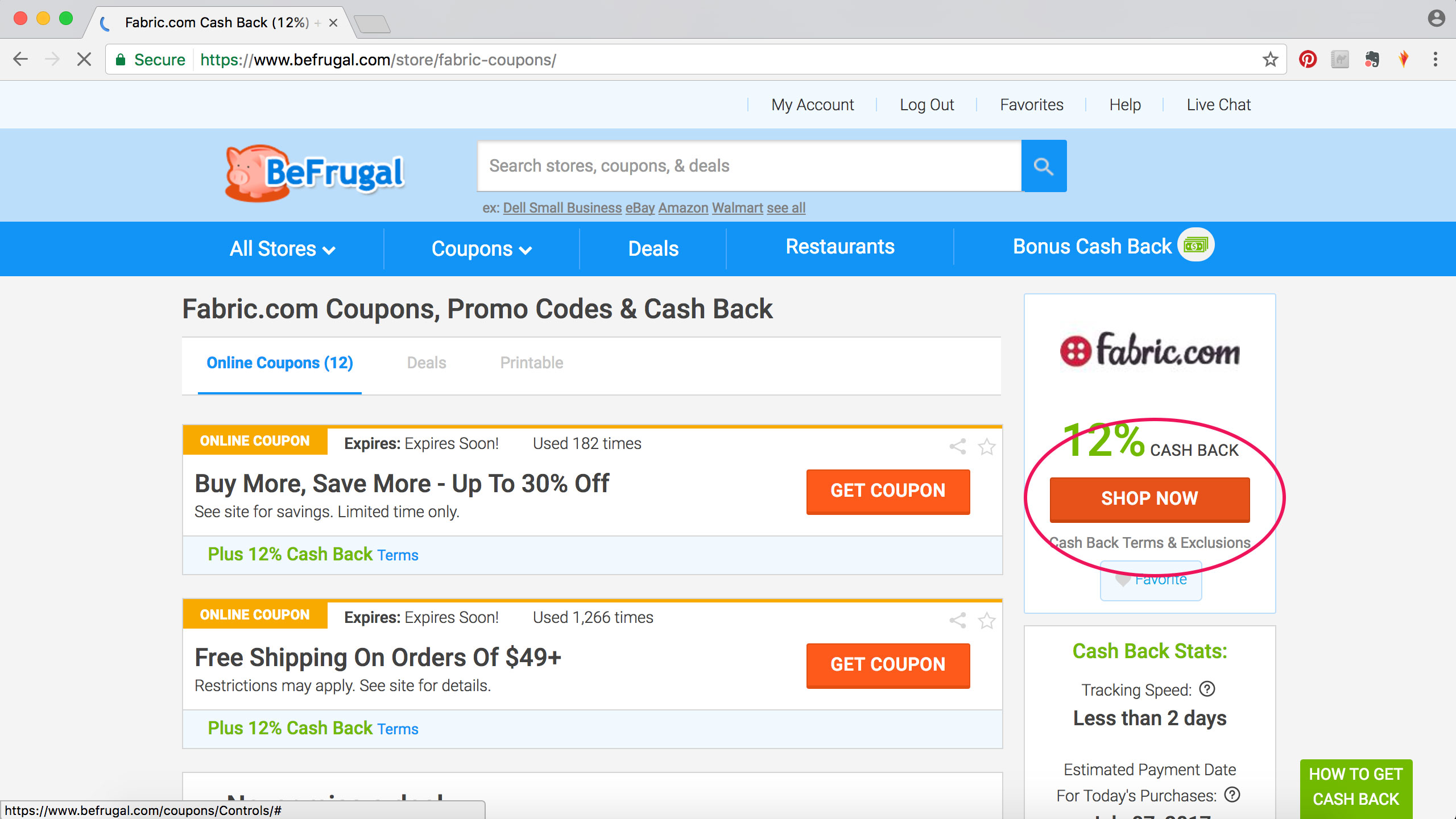 Be Frugal How to Get Cash Back Fabric Shopping Online