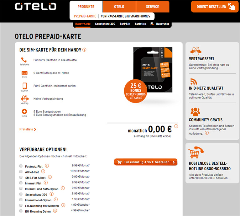 Otelo.de previous tariff product page screengrab
